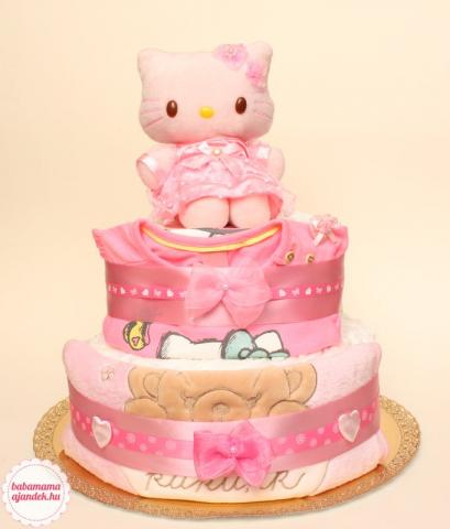 Hello Kitty pelenkatorta, pelenka torta, baba-mama ajándék
