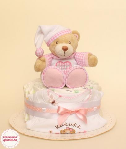 Jóéjt maci pelenkatorta, pelenka torta, baba-mama ajándék