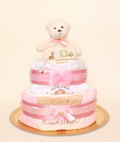 Teddy maci pelenkatorta, pelenka torta, baba-mama ajándék